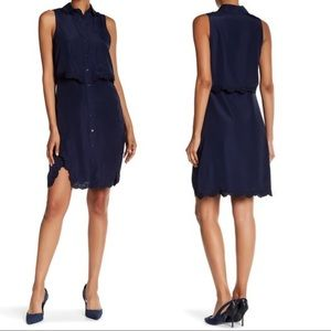 Parker Lace Trim Overlay Dress Blue Sleeveless